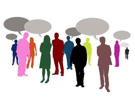 Illustrated crowd of people with speech bubbles photo