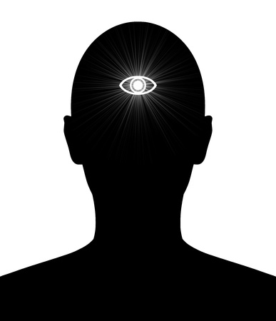third eye: Illustrated silhouette of a person with the Hindu third eye of knowledge