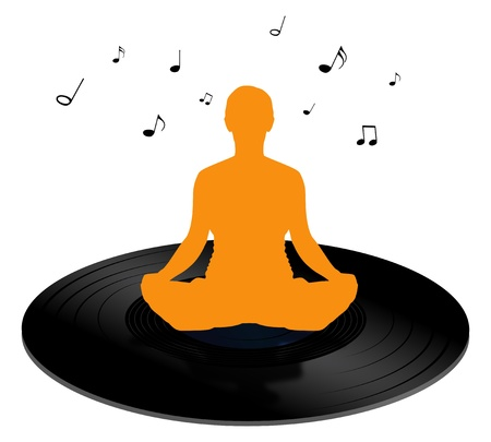 calming: Illustration of a person sitting on a vinyl record and listening to calming music Stock Photo