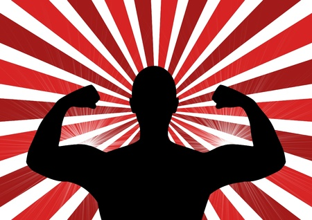in flexed: Illustration of a person showing off their muscles