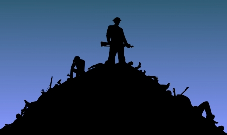 misery: Illustration of a soldier standing on top of a pile of bodies Stock Photo