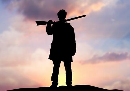 cazador: Ilustraci�n de un hombre que sostiene un rifle de pie en un horizonte