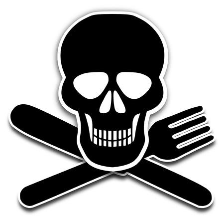 famine: Illustration of a skull, knife and fork