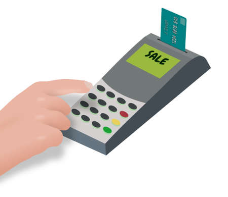 Illustration of a person using a chip and pin machine Stock Illustration - 19608724