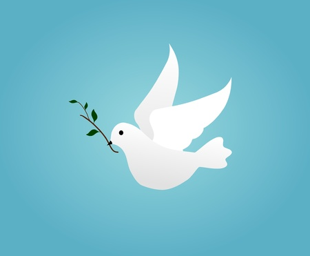 olive branch: Illustrated white dove holding an olive branch Stock Photo