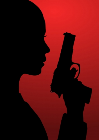 woman with gun: Black and red illustration of a girl with a gun Stock Photo