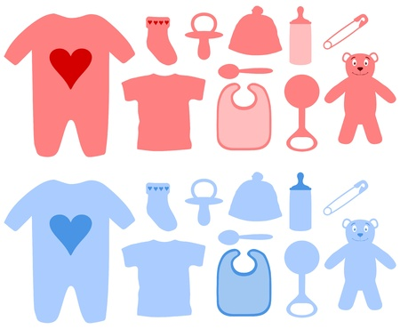 clothes pin: Illustration of many boys and girls baby items Stock Photo