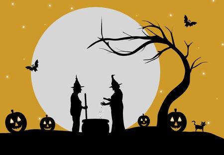 brujas caricatura: Ilustración de dos brujas haciendo una poción contra el fondo de la luna