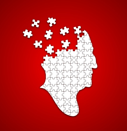 alzheimers: Red and white illustration of a person with missing puzzle pieces in their head