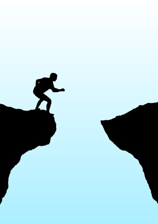 cliff: Illustration of a person getting ready to jump a gorge Stock Photo