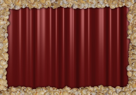 Red Theatre curtains with a frame of popcorn photo