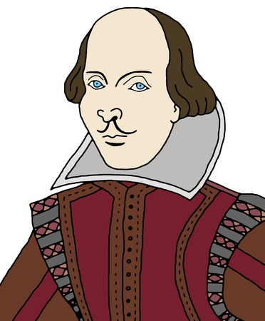 bard: Cartoon illustration of William Shakespeare Stock Photo