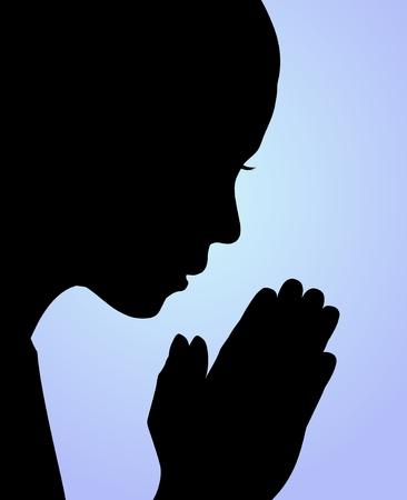 mujeres orando: Ilustración de una niña rezando o meditando