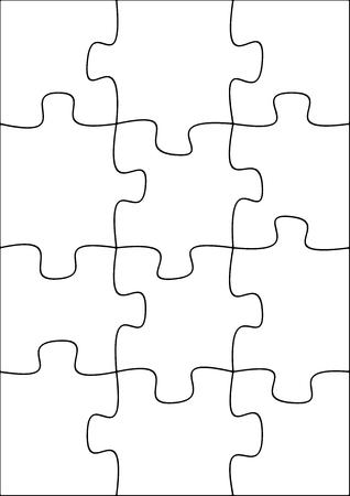 piece: Illustration of a twelve piece jigsaw puzzle Stock Photo