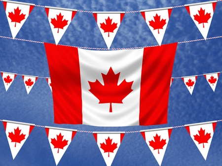 Illustration of Hanging Canadian banners and flag