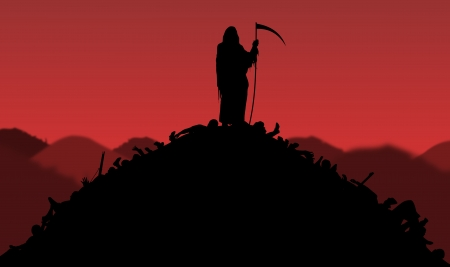 hades: Illustration of the Grim Reaper standing on piles of bodies Stock Photo