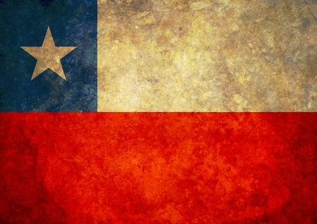 bandera chile: Ilustrado bandera de Chile con efectos grunge Foto de archivo