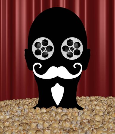 buff: Abstract Illustration of a person up to their neck in popcorn with movie reel eyes