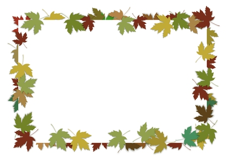 Illustrated frame made of leaves