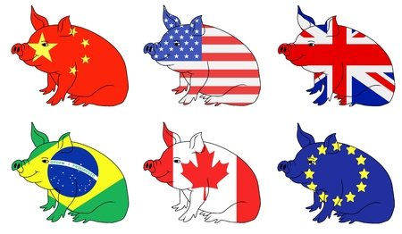 producing: Illustration of six pig with flag textures from Pork producing countries