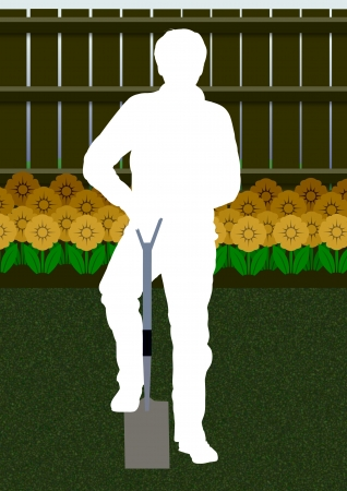 dug: Illustration of a silhouette person gardening