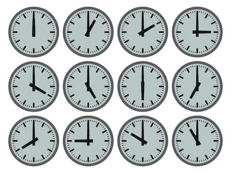 Illustration of 12 clocks showing hourly times illustration