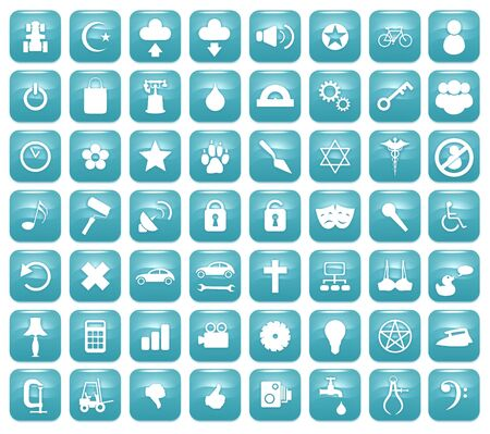 downy: Illustration of 56 Aqua blue icons