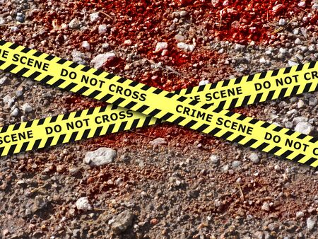 homicide: Illustration of blood soaked ground with crime scene tape