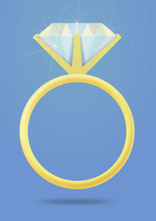 engagement ring: Illustration of an isolated Engagement ring on a blue background Stock Photo
