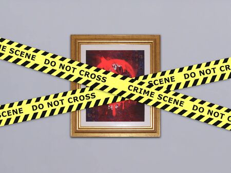 vandal: Illustration of a work of art destroyed by vandals with police tape