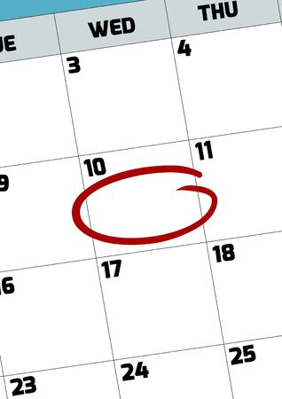 marked: Illustration of a calendar page with a date circled Stock Photo