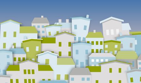 Illustration of a group of houses in green and blue Stock Photo