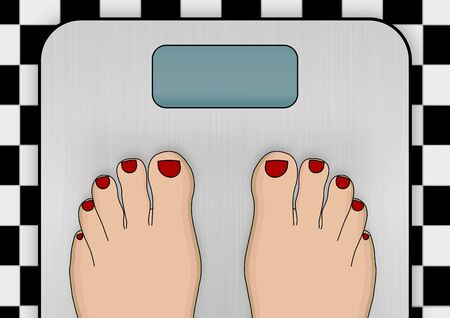Illustration of a pair of feet standing on weighing scales illustration
