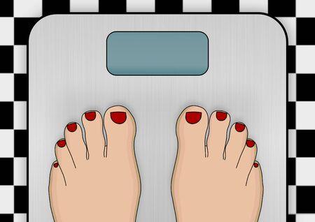 Ilustración de un par de pies de pie sobre una balanza