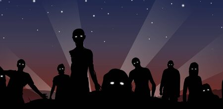 holocaust: Illustration of a crowd of Zombies with glowing eyes