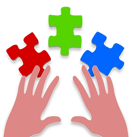 three hands: Illustration of a pair of hands and three puzzle pieces Stock Photo