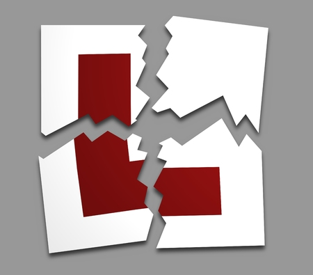 Illustration of an L-plate torn apart Stock Photo