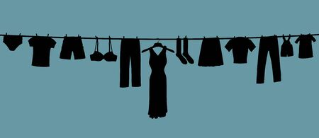 drying: Illustration of a long clothes line containing many clothes types Stock Photo