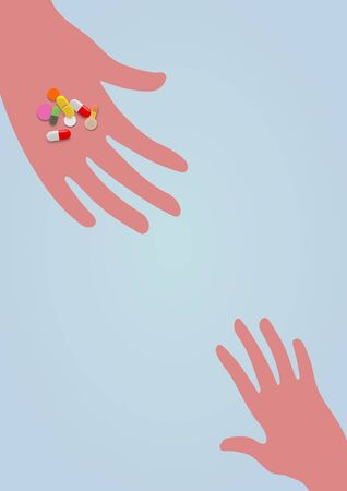 drug dealer: Illustration of two hands with one holding drugs and handing them out to a child