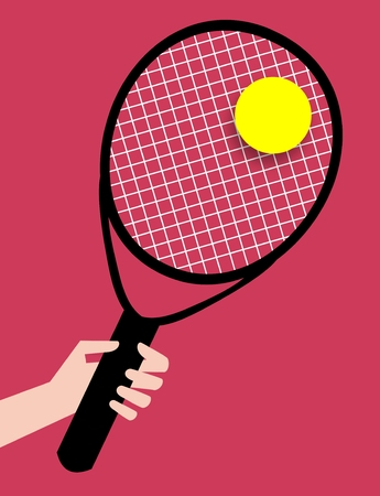 racquet: Illustration of a hand holding a Tennis Racquet with a yellow ball