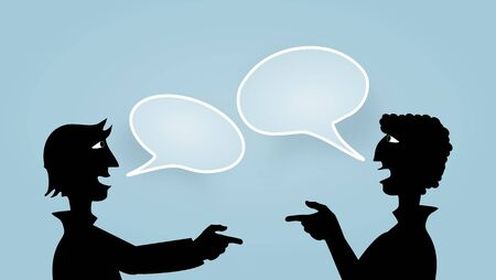 Illustration of two people pointing to each other with speech bubbles illustration