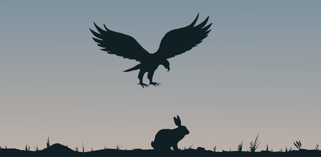 swooping: Illustration of a bird of prey and a rabbit  silhouettes
