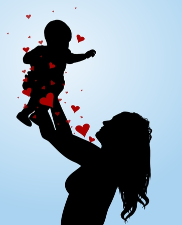 to adore: Illustration of a mother holding her baby in the air, with love hearts Stock Photo