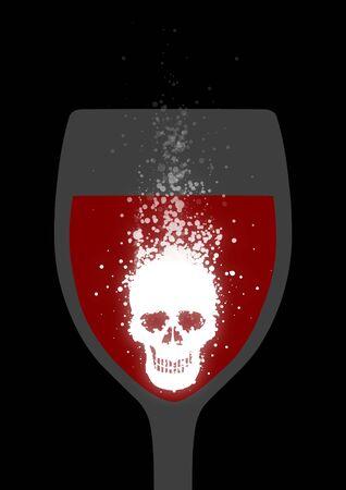 dissolving: Illustration of a fizzing skull shaped tablet dissolving in red liquid