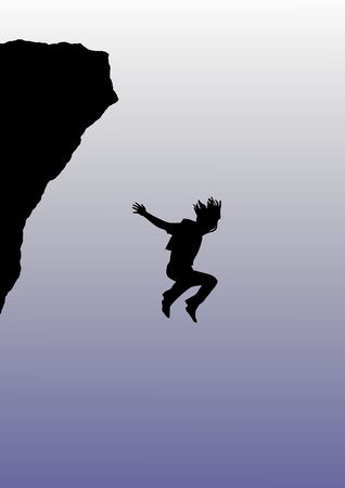 Illustration of a person base jumping 版權商用圖片