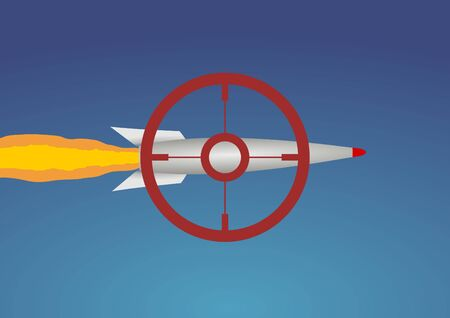 ballistic: Illustration of a missile with a red target