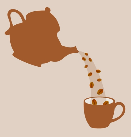 coffeepot: Illustration of a coffeepot pouring coffee beans into a cup Stock Photo