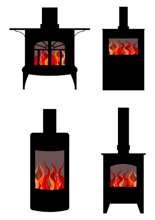 wood stove: Illustration of four styles of wood burning stoves