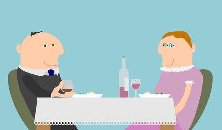 pareja comiendo: Ilustración de un par de comer una comida con vino
