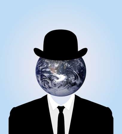 bowler hats: Illustration of a Business person with a bowler hat, suit and the Earth for a head